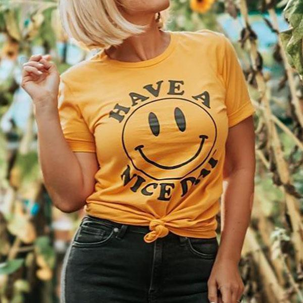 Popular tshirt for a reason, the smiley face design has lasted for decades