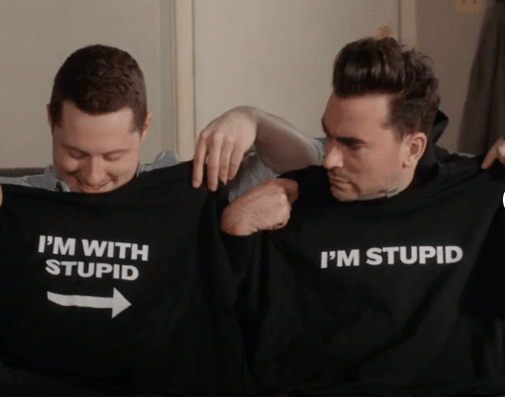 One of the most popular tshirt designs ever: I'm with stupid
